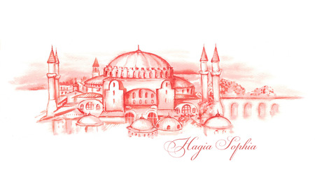 Hand-drawn watercolor drawing of the Turkish landscape and famous building. Illustration of the Hagia Sophia