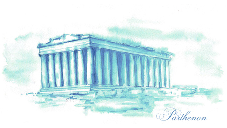 Hand-drawn watercolor drawing of the Greece landscape and famous building. Illustration of the Parthenon