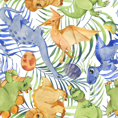 Hand drawn watercolor seamless pattern with cute dinosaurs and tropical leaves. Historical reptiles. Dinosaurs - cartoon character. Illustration for children. Repeated background