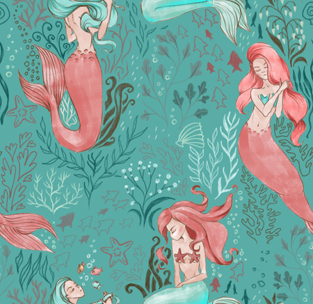 Hand-drawn seamless pattern of beautiful mermaid character and underwater sea illustration. Repeated background Stock Photo