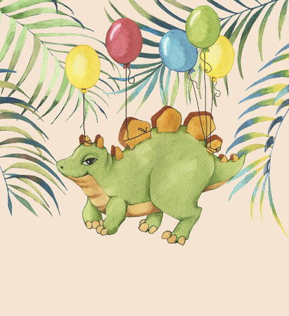 Hand drawn watercolor illustration of cute cartoon dinosaur with colorful balloons and tropical leaves. Greeting birthday card, template, poster, banner for children