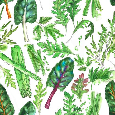 Hand drawn  seamless pattern with salad leaf: oak leaf lettuce, curly endive salad, chard leaf, green asparagus stems and sliced celery stems on the white background.
