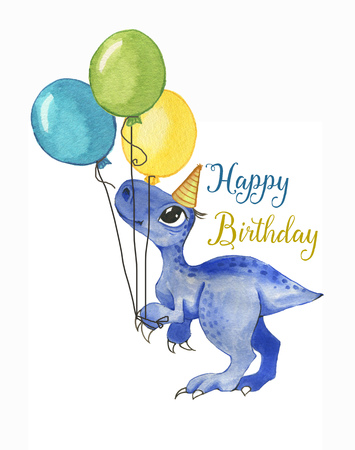 Hand drawn  illustration of cute cartoon dinosaur with colorful balloons. Greeting birthday card, template, poster, banner for children