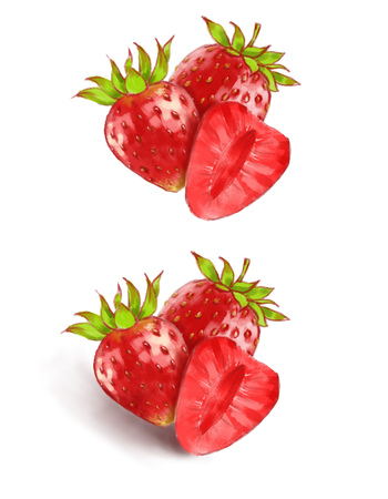Hand drawn watercolor illustration of the different tasty red strawberry isolated on the white background.