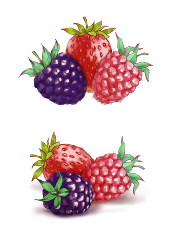 Hand drawn watercolor illustration of the food: ripe tasty blackberry, strawberry and raspberry isolated on the white background Reklamní fotografie
