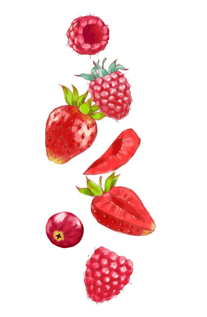 Hand drawn watercolor illustration of the food: ripe tasty cranberry, strawberries and raspberries isolated on the white background