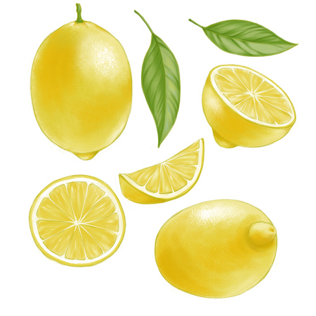 Hand drawn watercolor illustration set of isolated yellow lemon and leaves on the white background Reklamní fotografie