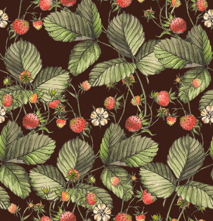 Hand drawn seamless pattern with watercolor strawberries, berries and leaves on the white background. Repeated background Reklamní fotografie