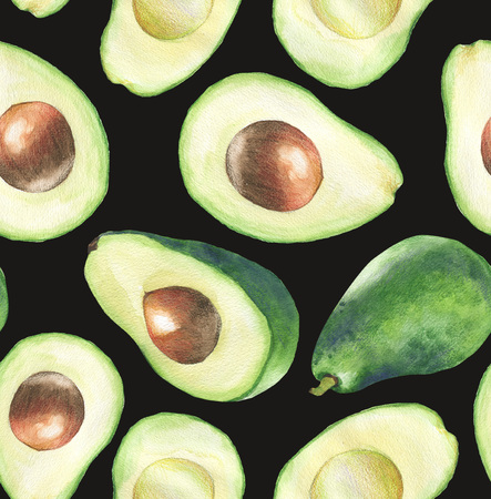 Hand-drawn watercolor seamless pattern with fresh green avocado on the black background. Repeated fruit background. - Illustration