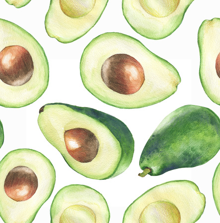 Hand-drawn watercolor seamless pattern with fresh green avocado on the white background. Repeated fruit background. - Illustration