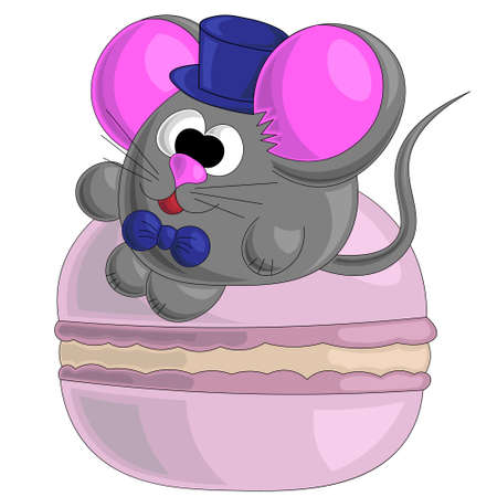 Cute mouse and macaroon in cartoon style 矢量图像