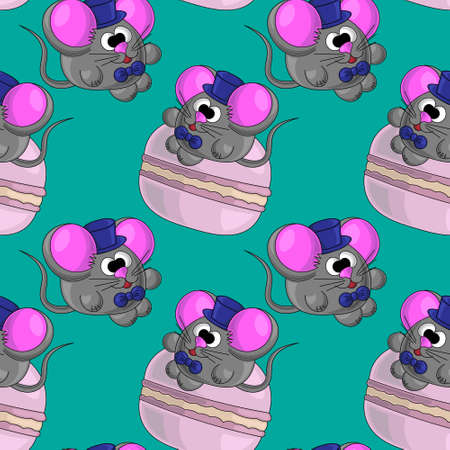 Seamless vector pattern with mouse and macaroon 矢量图像