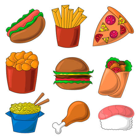 Color icons on the theme of fast food