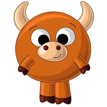Cute drawn brown bull in cartoon style 向量圖像
