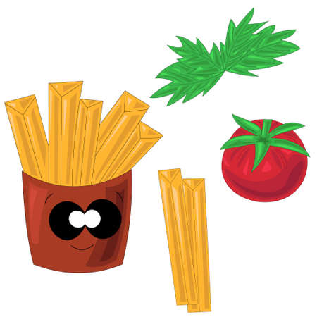 Ingredients for making tasty, big, fast French fries.