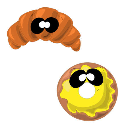 Cute croissant and donut in cartoon style