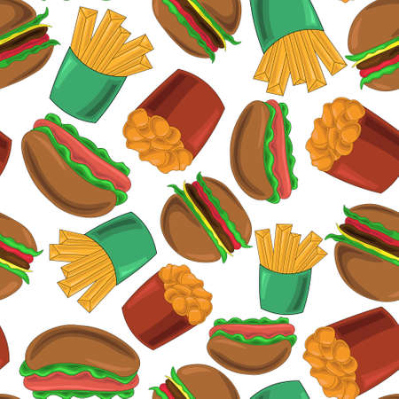Seamless pattern with French fries, nuggets, hamburgers and hot dogs