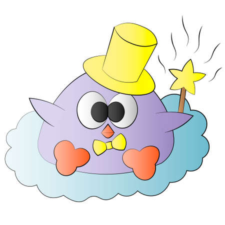 Cute cartoon bird baby with magic wand