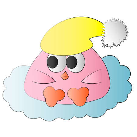 Cute cartoon bird baby with sleep hat Ilustracja