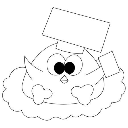 Cute cartoon bird graduate in hat with page in black and white
