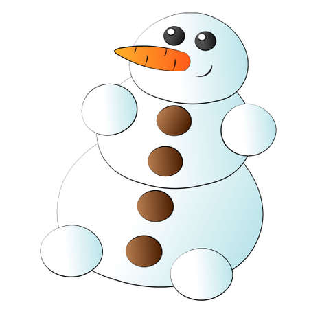 Cute cartoon snowman with carrot and button