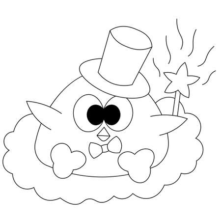 Cute cartoon bird baby with magic wand in black and white