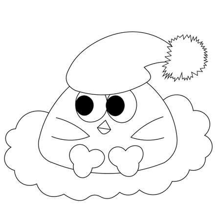 Cute cartoon bird baby with sleep hat in black and white