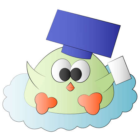 Cute cartoon bird graduate in hat with page