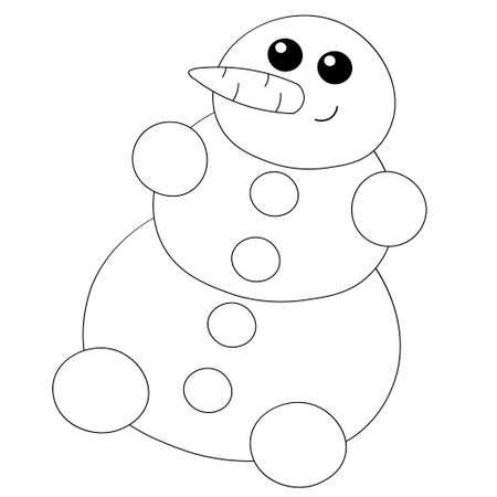 Cute cartoon snowman with carrot and button in black and white