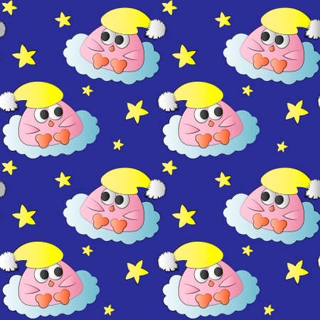Seamless pattern with cute bird baby and star