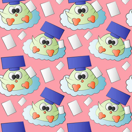 Seamless pattern with cute bird graduate with page