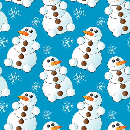 Seamless pattern with snowman with carrot and button Ilustracja
