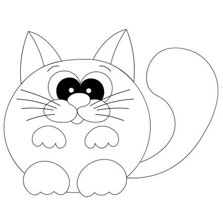 Cute cartoon happy cat in black and white