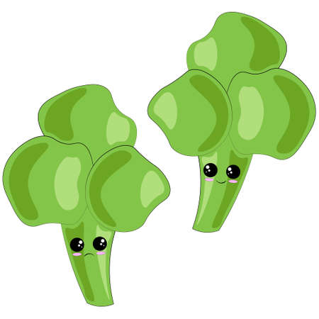 Cute cartoon happy and sad Broccoli in color