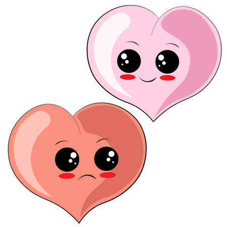 Cute cartoon happy and sad Heart in color