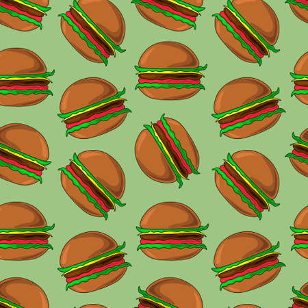 Seamless vector pattern with fast tasty hamburger