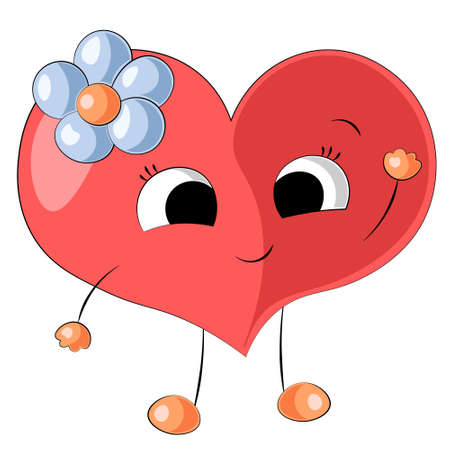 Cute cartoon red Heart with blue flower 向量圖像