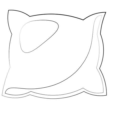 Single element pillow. Draw illustration in black and white
