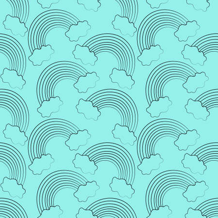 Seamless vector pattern with outline blue Rainbow