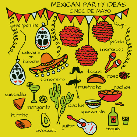 mexican party: Doodle set of Mexican party ideas, cinco de mayo elements, mexico fiesta Illustration