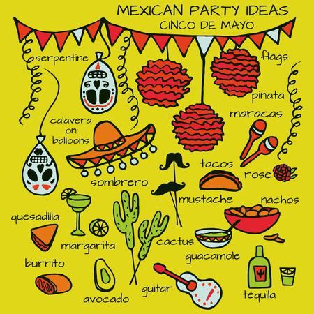 enchiladas: Doodle set of Mexican party ideas, cinco de mayo elements, mexico fiesta Illustration