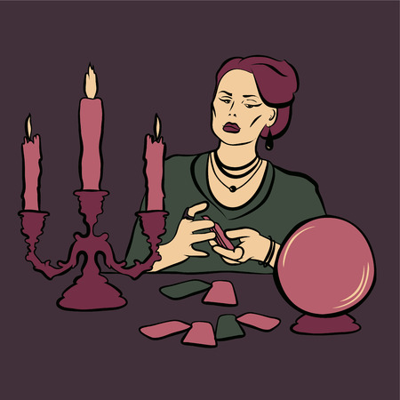spirit medium: Fortune teller woman with crystall ball and tarot