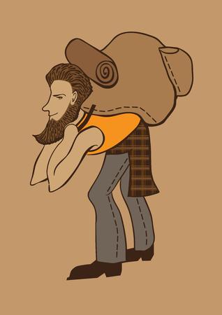bearded: Bearded hipster tourist Illustration