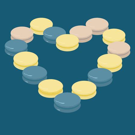 macaroon: illustration of macaroon heart Illustration