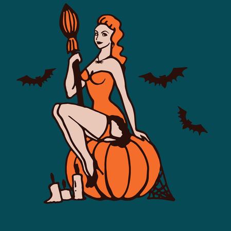stockings woman: Illustration of Halloween girl Illustration