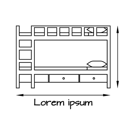 Side View flat vector illustration of bunk bed with stairs