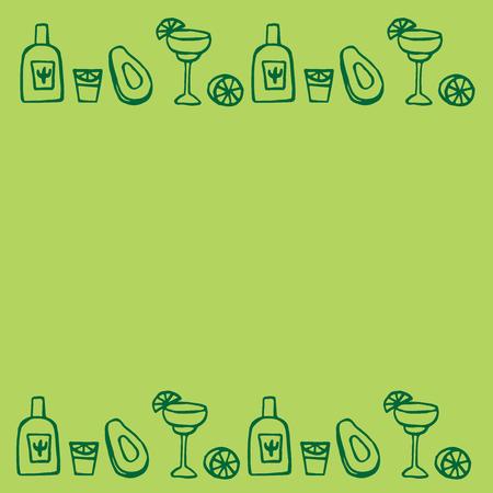 멕시코 요소, cinco de mayo 요소, 멕시코 축제, avacado, 멕시코 알코올 - 테킬라, 마가리타의 낙서 세트