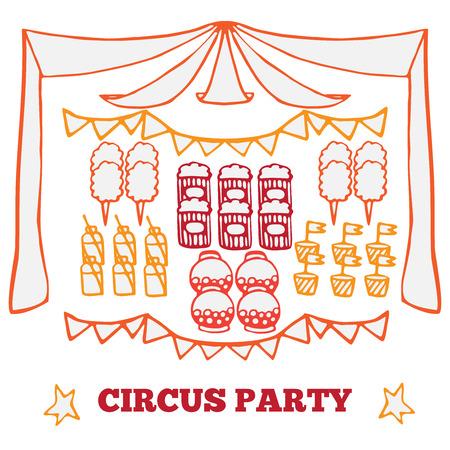 algodon de azucar: Vector ideas de la fiesta retro del circo ilustración, los elementos de circo de productos justo, juego de carnaval Vectores