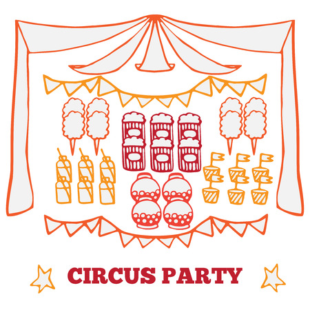 cotton candy: Vector retro circus party ideas illustration, circus fair product elements, carnival set
