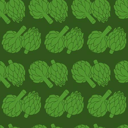 artichoke: vector doodle illustration of artichoke, organic vegan background, healthy food seamless pattern